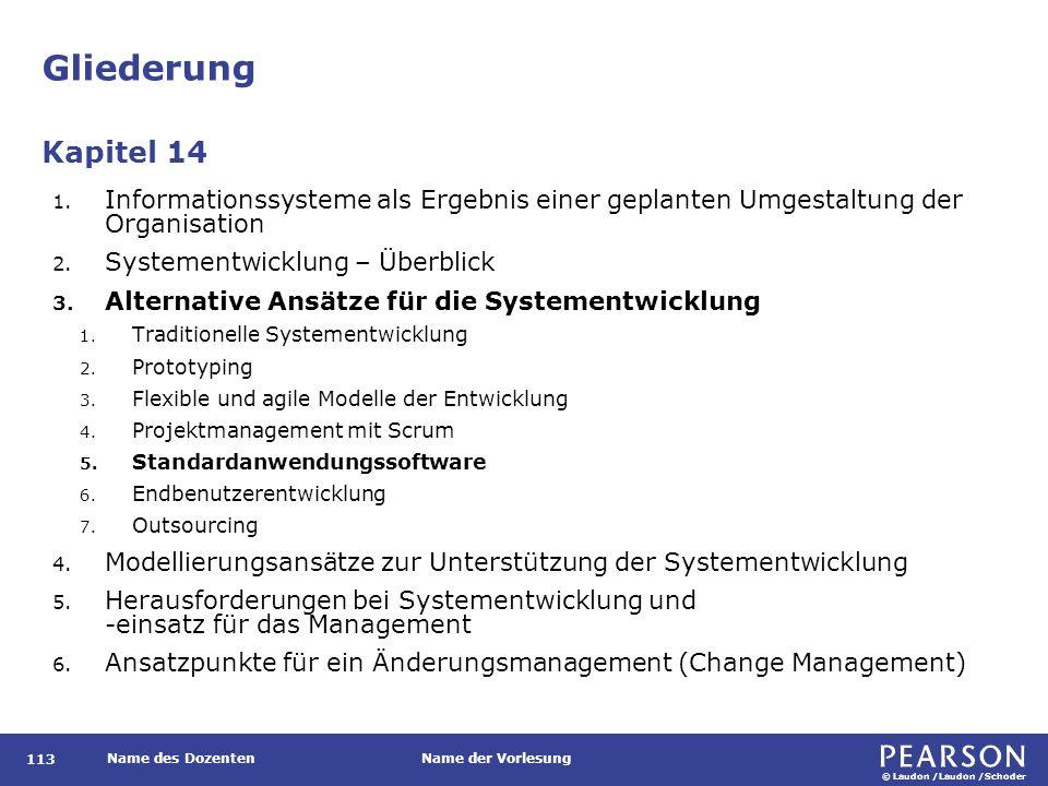 © Laudon /Laudon /Schoder Name des DozentenName der Vorlesung Gliederung 113 1. Informationssysteme als Ergebnis einer geplanten Umgestaltung der Orga