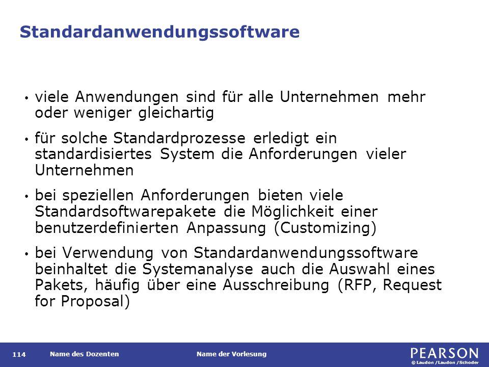 © Laudon /Laudon /Schoder Name des DozentenName der Vorlesung Standardanwendungssoftware 114 viele Anwendungen sind für alle Unternehmen mehr oder wen