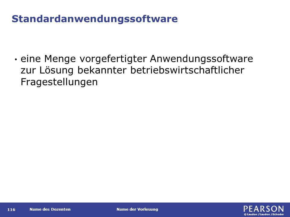 © Laudon /Laudon /Schoder Name des DozentenName der Vorlesung Standardanwendungssoftware 116 eine Menge vorgefertigter Anwendungssoftware zur Lösung bekannter betriebswirtschaftlicher Fragestellungen