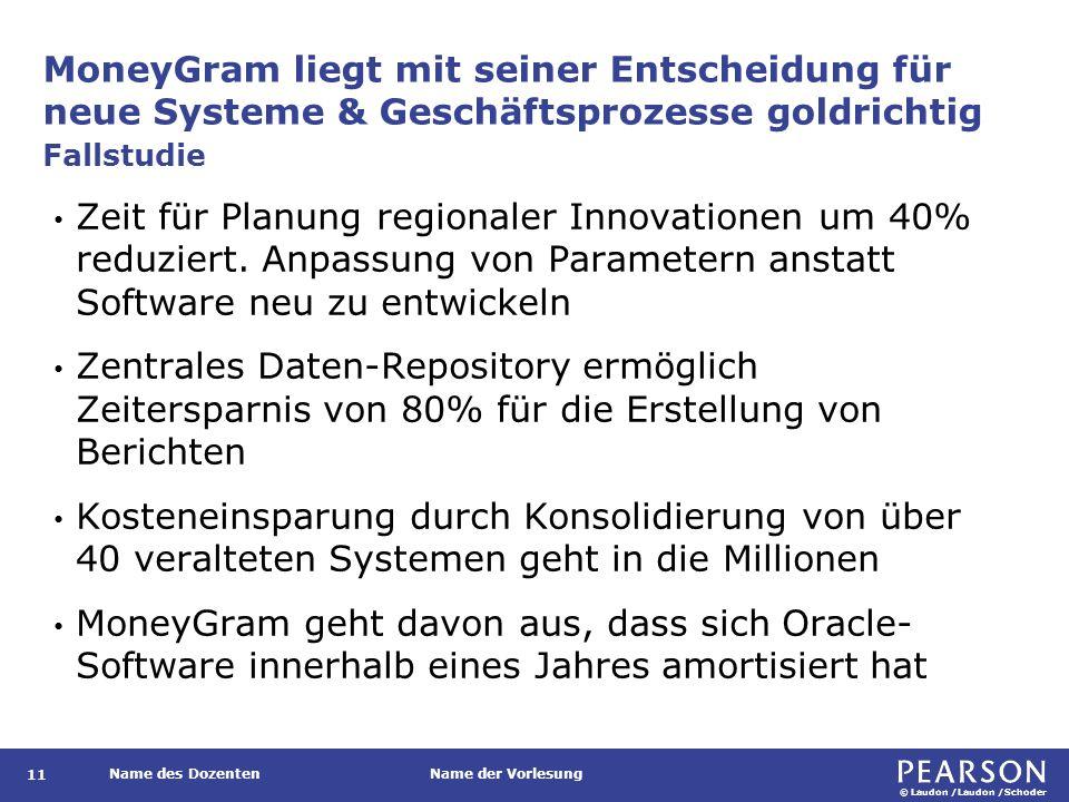 © Laudon /Laudon /Schoder Name des DozentenName der Vorlesung MoneyGram liegt mit seiner Entscheidung für neue Systeme & Geschäftsprozesse goldrichtig 11 Zeit für Planung regionaler Innovationen um 40% reduziert.