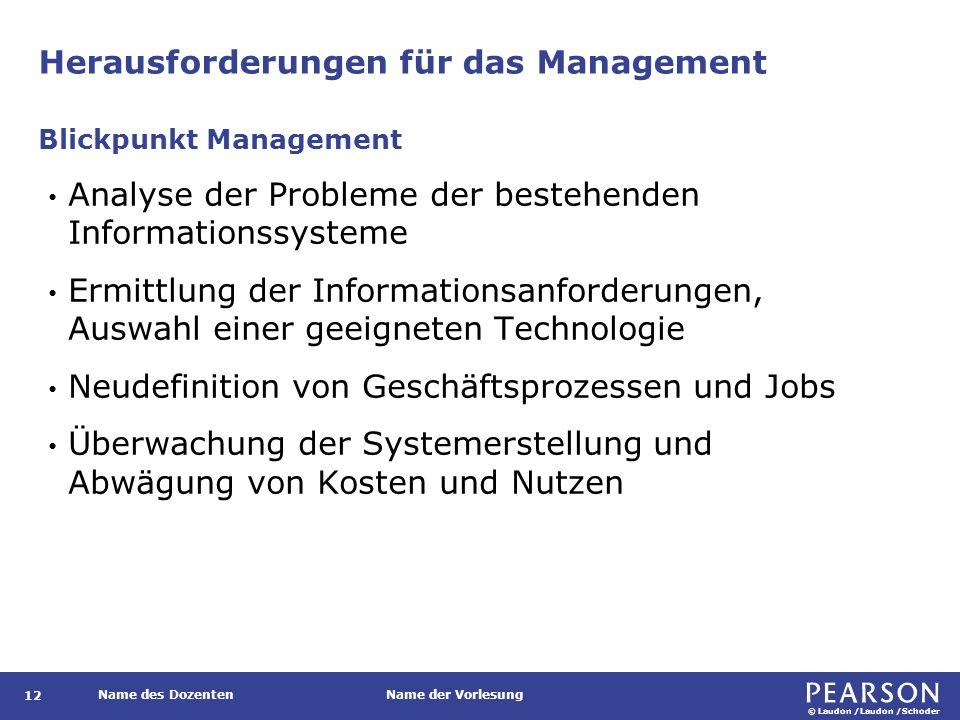 © Laudon /Laudon /Schoder Name des DozentenName der Vorlesung Herausforderungen für das Management 12 Analyse der Probleme der bestehenden Information