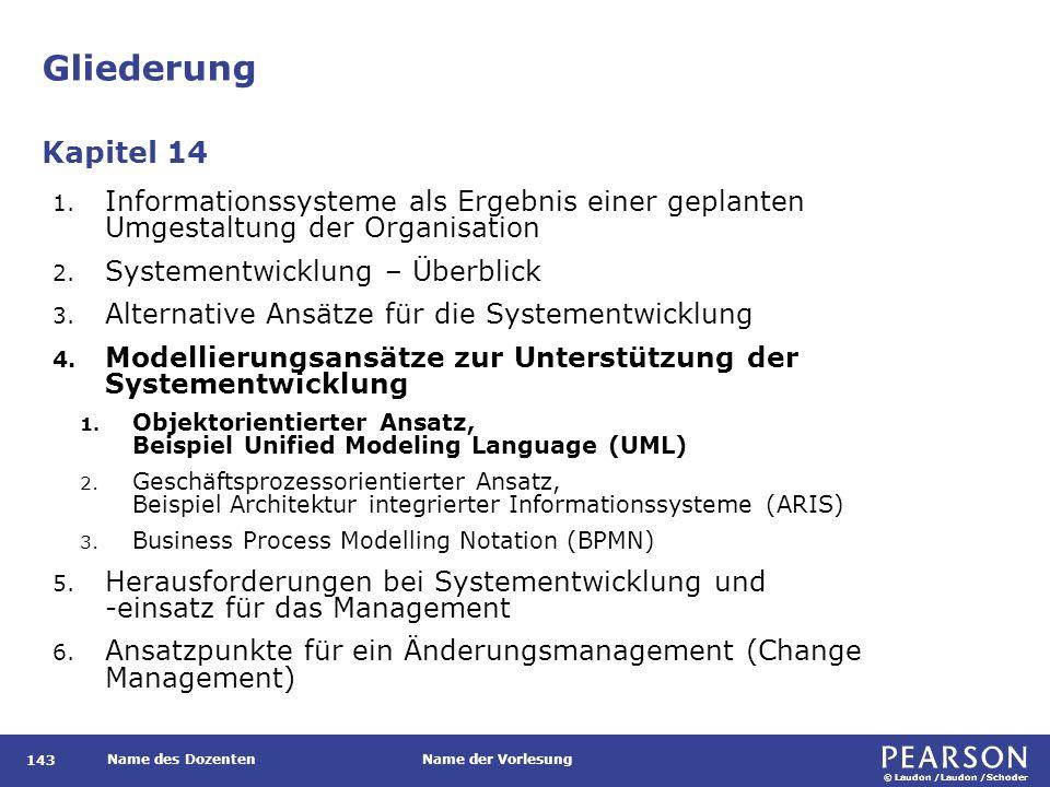 © Laudon /Laudon /Schoder Name des DozentenName der Vorlesung Gliederung 143 1.