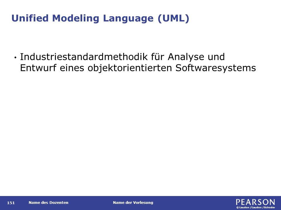 © Laudon /Laudon /Schoder Name des DozentenName der Vorlesung Unified Modeling Language (UML) 151 Industriestandardmethodik für Analyse und Entwurf eines objektorientierten Softwaresystems