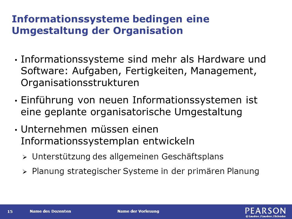 © Laudon /Laudon /Schoder Name des DozentenName der Vorlesung Informationssysteme bedingen eine Umgestaltung der Organisation 15 Informationssysteme s