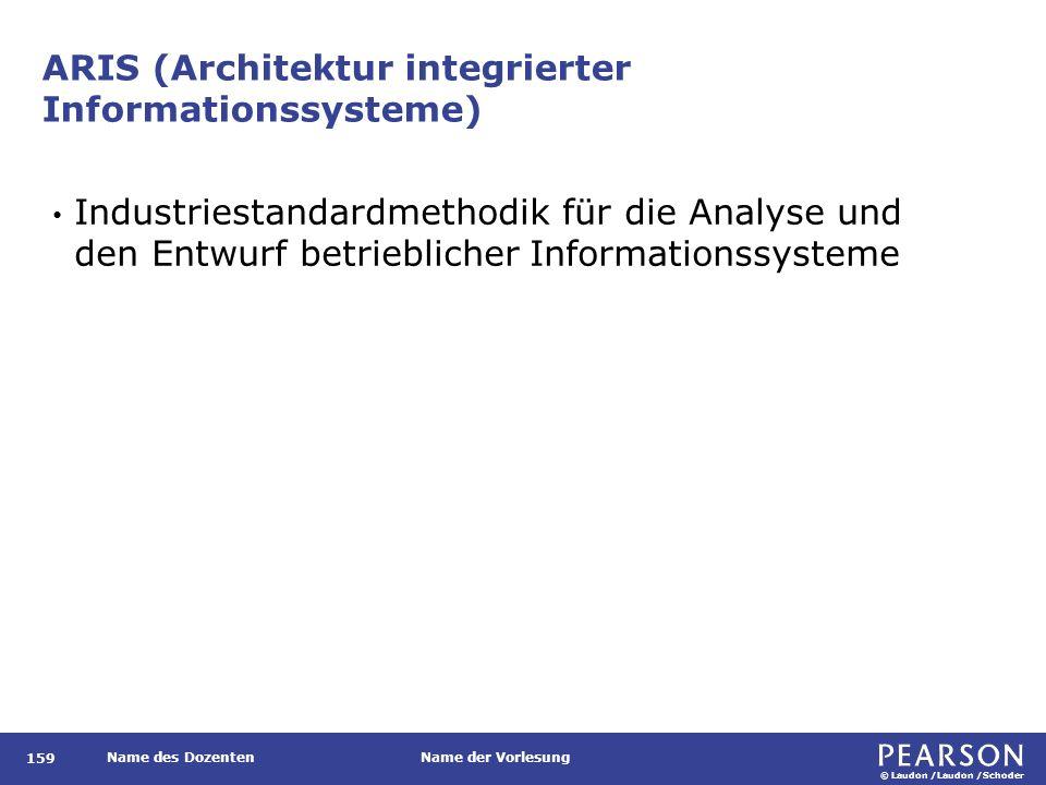 © Laudon /Laudon /Schoder Name des DozentenName der Vorlesung ARIS (Architektur integrierter Informationssysteme) 159 Industriestandardmethodik für die Analyse und den Entwurf betrieblicher Informationssysteme