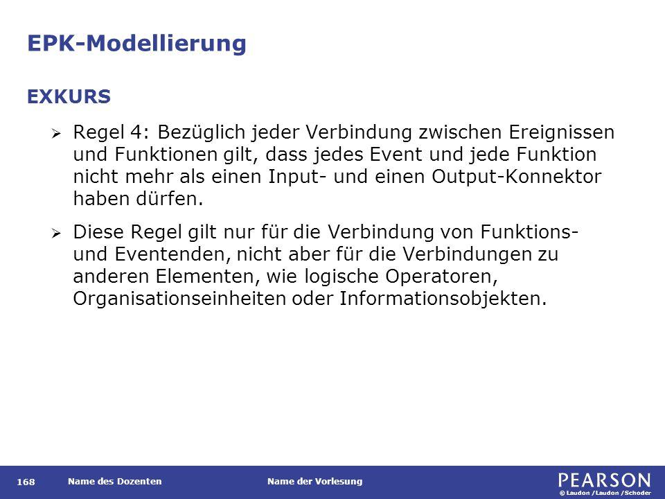 © Laudon /Laudon /Schoder Name des DozentenName der Vorlesung EPK-Modellierung 168  Regel 4: Bezüglich jeder Verbindung zwischen Ereignissen und Funktionen gilt, dass jedes Event und jede Funktion nicht mehr als einen Input- und einen Output-Konnektor haben dürfen.