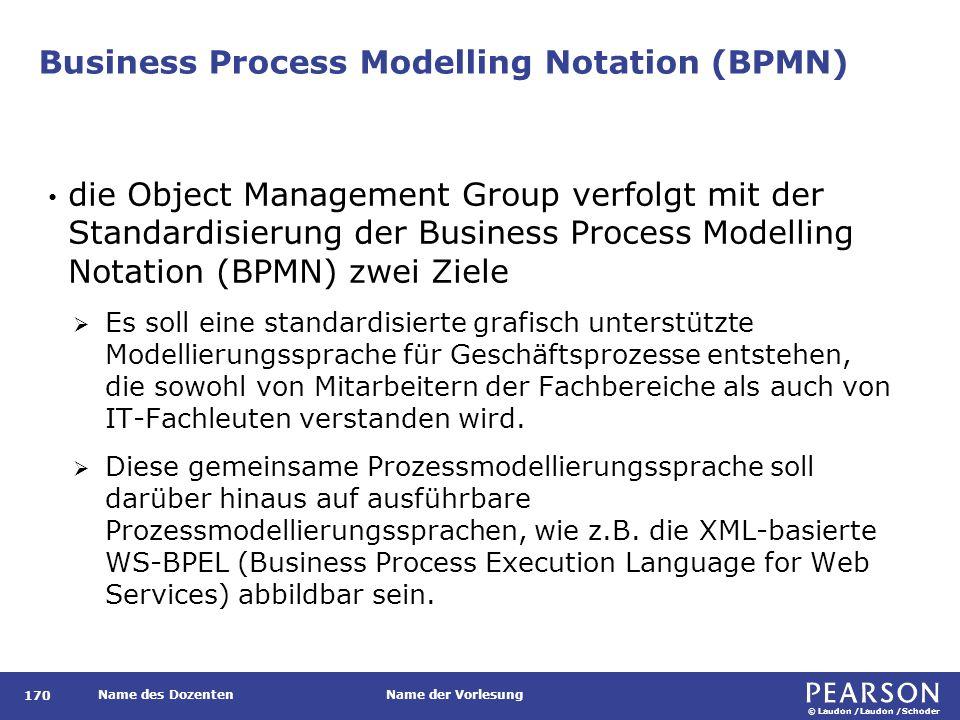 © Laudon /Laudon /Schoder Name des DozentenName der Vorlesung Business Process Modelling Notation (BPMN) 170 die Object Management Group verfolgt mit