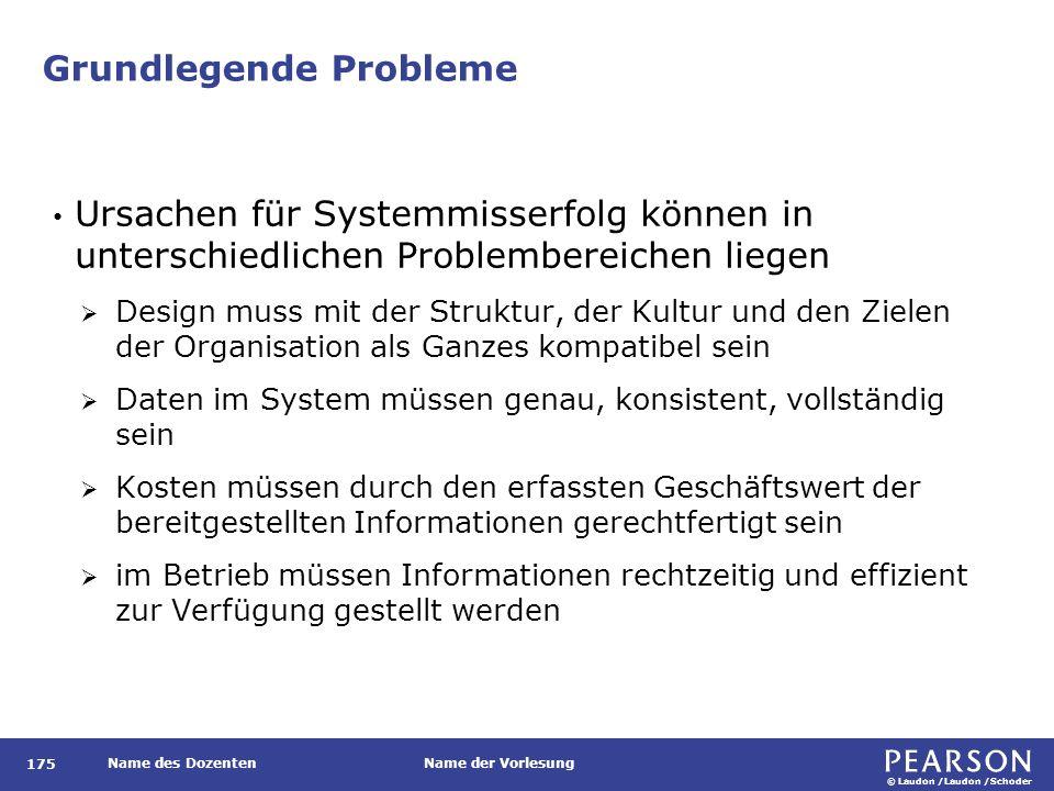 © Laudon /Laudon /Schoder Name des DozentenName der Vorlesung Grundlegende Probleme 175 Ursachen für Systemmisserfolg können in unterschiedlichen Prob