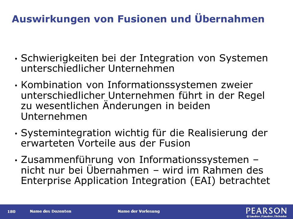 © Laudon /Laudon /Schoder Name des DozentenName der Vorlesung Auswirkungen von Fusionen und Übernahmen 180 Schwierigkeiten bei der Integration von Sys