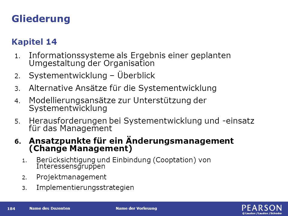 © Laudon /Laudon /Schoder Name des DozentenName der Vorlesung Gliederung 184 1.