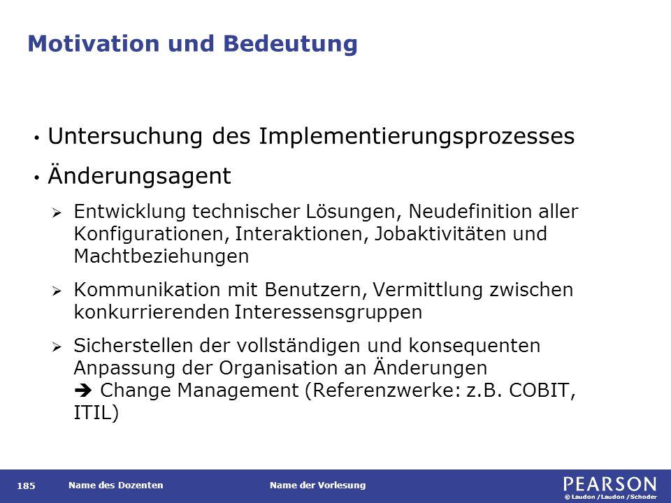 © Laudon /Laudon /Schoder Name des DozentenName der Vorlesung Motivation und Bedeutung 185 Untersuchung des Implementierungsprozesses Änderungsagent 