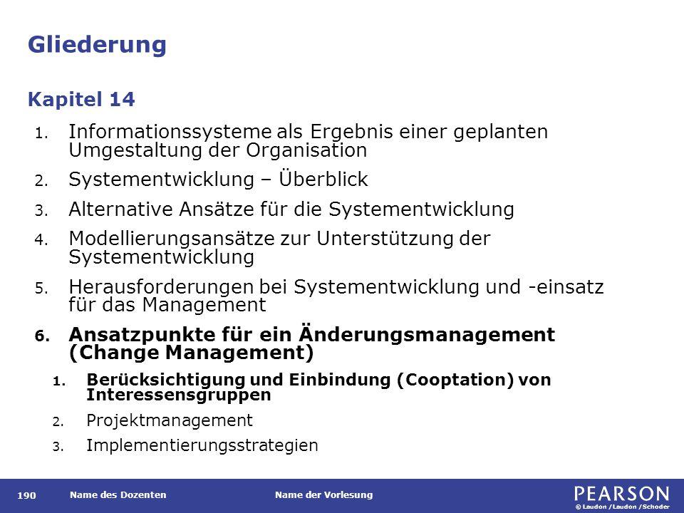 © Laudon /Laudon /Schoder Name des DozentenName der Vorlesung Gliederung 190 1.