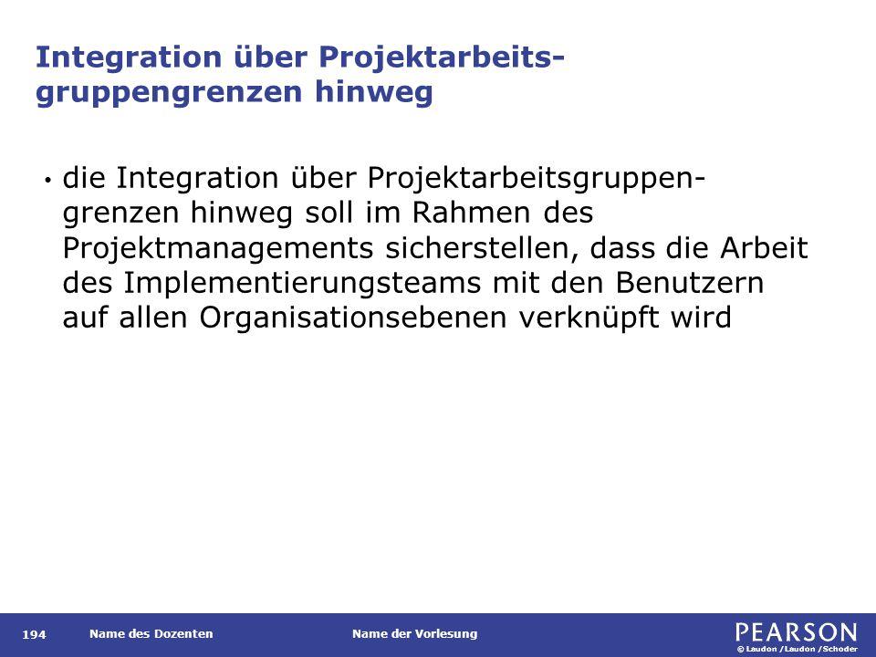 © Laudon /Laudon /Schoder Name des DozentenName der Vorlesung Integration über Projektarbeits- gruppengrenzen hinweg 194 die Integration über Projekta