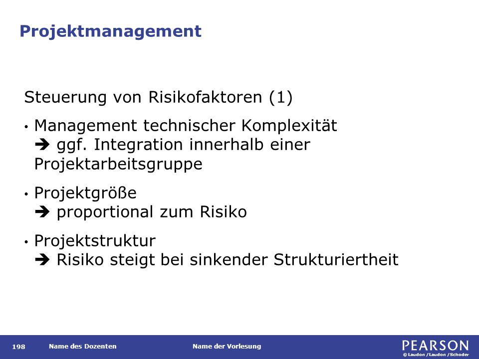 © Laudon /Laudon /Schoder Name des DozentenName der Vorlesung Projektmanagement 198 Steuerung von Risikofaktoren (1) Management technischer Komplexitä
