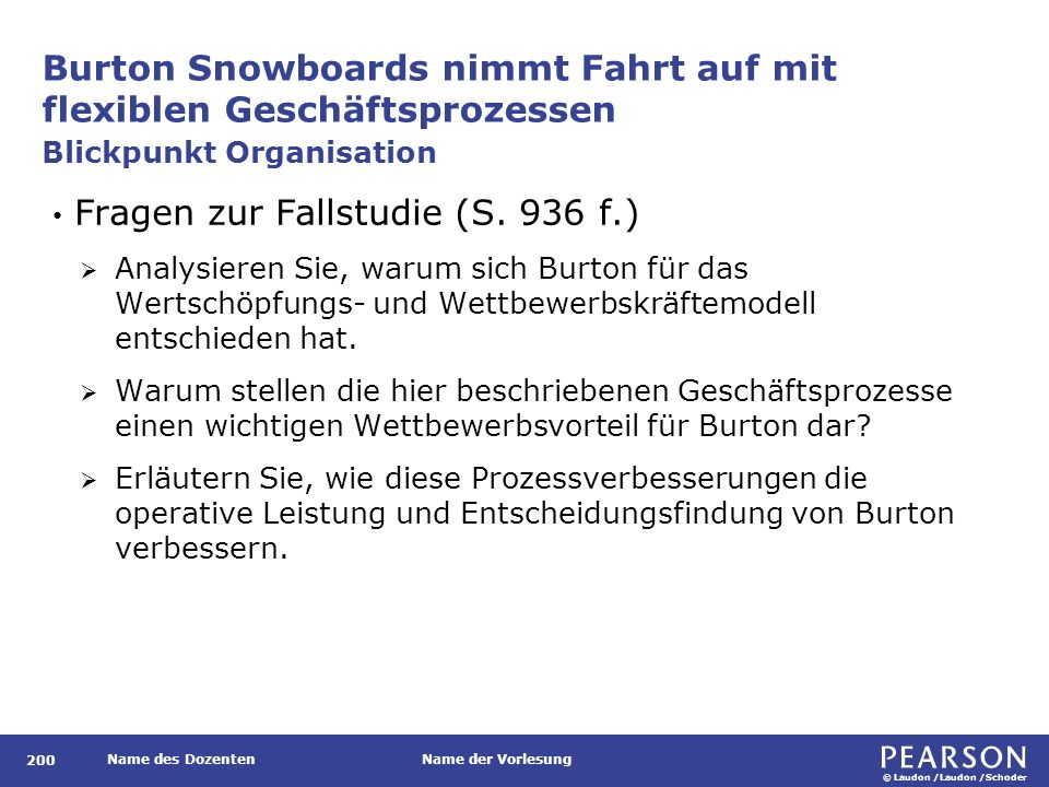 © Laudon /Laudon /Schoder Name des DozentenName der Vorlesung Burton Snowboards nimmt Fahrt auf mit flexiblen Geschäftsprozessen 200 Fragen zur Fallstudie (S.