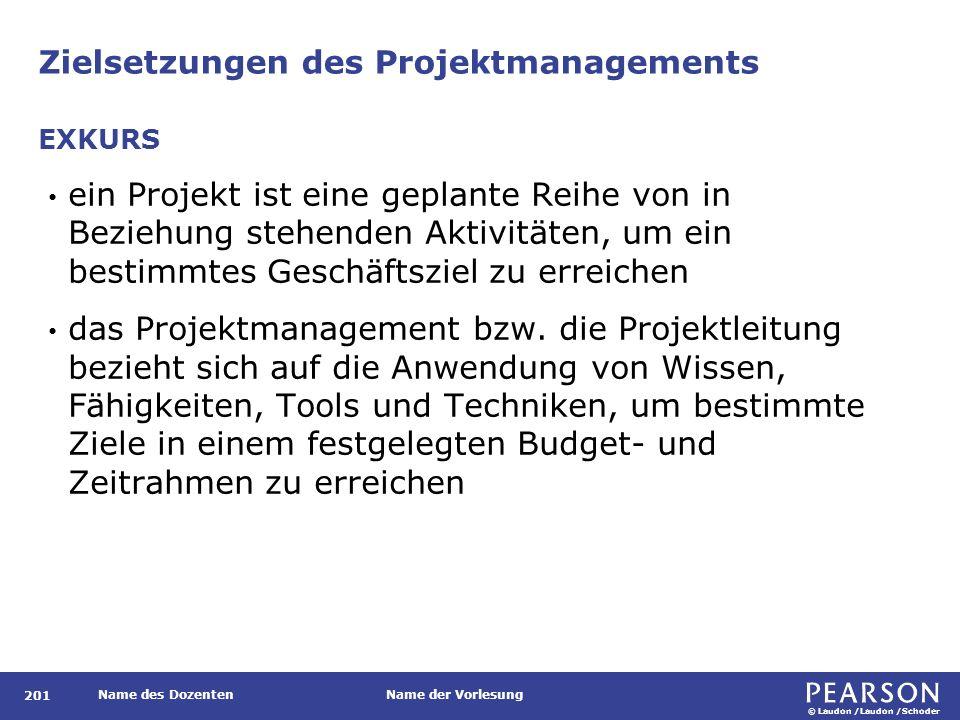 © Laudon /Laudon /Schoder Name des DozentenName der Vorlesung Zielsetzungen des Projektmanagements 201 ein Projekt ist eine geplante Reihe von in Beziehung stehenden Aktivitäten, um ein bestimmtes Geschäftsziel zu erreichen das Projektmanagement bzw.