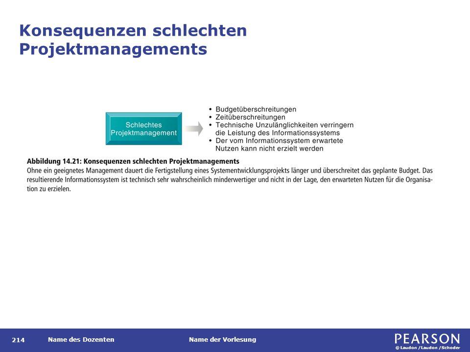 © Laudon /Laudon /Schoder Name des DozentenName der Vorlesung Konsequenzen schlechten Projektmanagements 214
