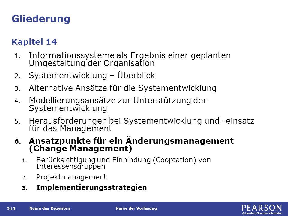 © Laudon /Laudon /Schoder Name des DozentenName der Vorlesung Gliederung 215 1.