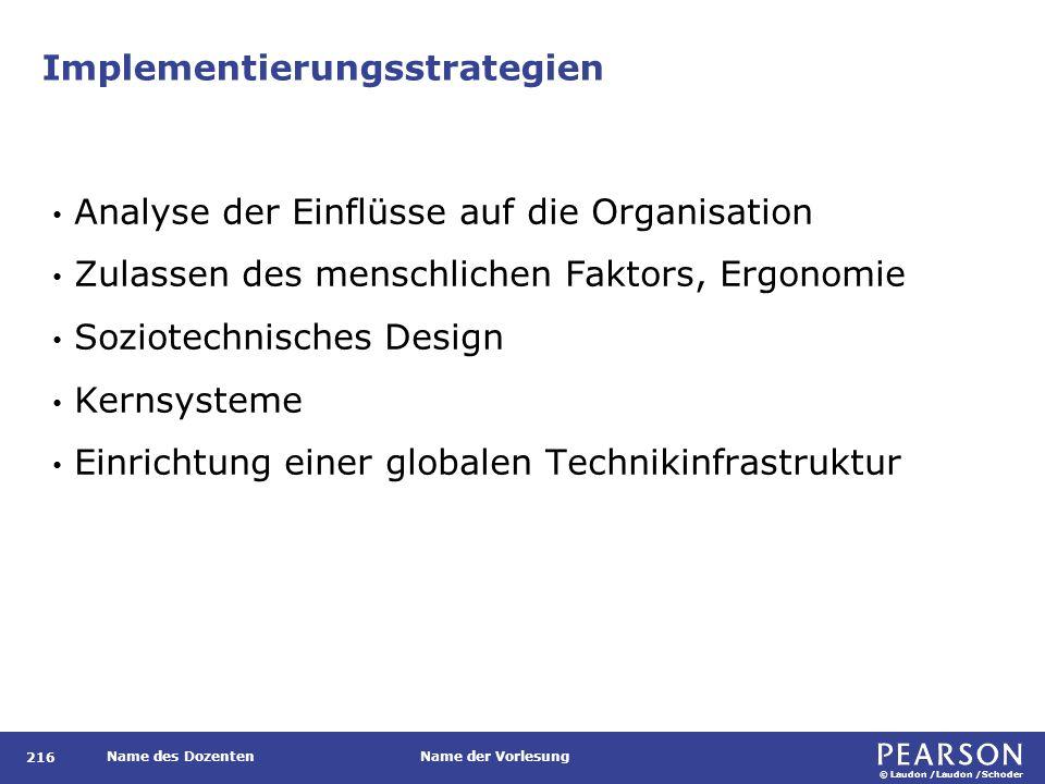 © Laudon /Laudon /Schoder Name des DozentenName der Vorlesung Implementierungsstrategien 216 Analyse der Einflüsse auf die Organisation Zulassen des m