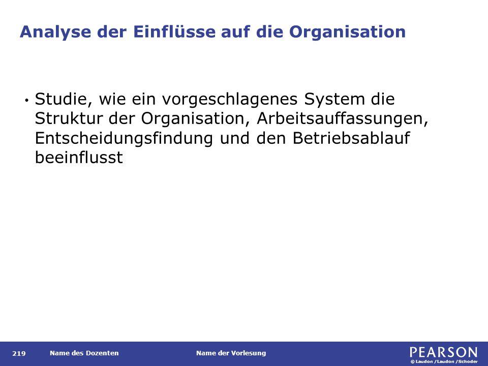 © Laudon /Laudon /Schoder Name des DozentenName der Vorlesung Analyse der Einflüsse auf die Organisation 219 Studie, wie ein vorgeschlagenes System di