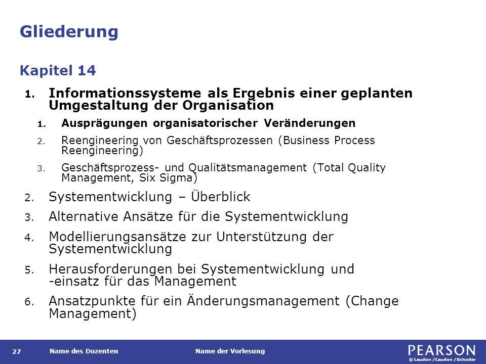 © Laudon /Laudon /Schoder Name des DozentenName der Vorlesung Gliederung 27 1. Informationssysteme als Ergebnis einer geplanten Umgestaltung der Organ