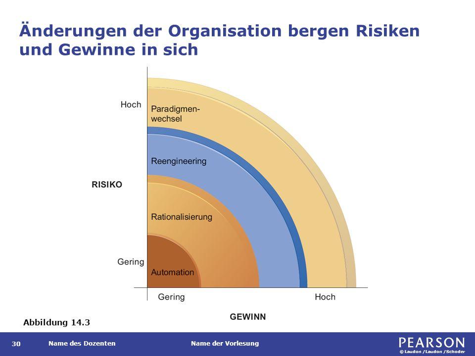 © Laudon /Laudon /Schoder Name des DozentenName der Vorlesung Änderungen der Organisation bergen Risiken und Gewinne in sich 30 Abbildung 14.3