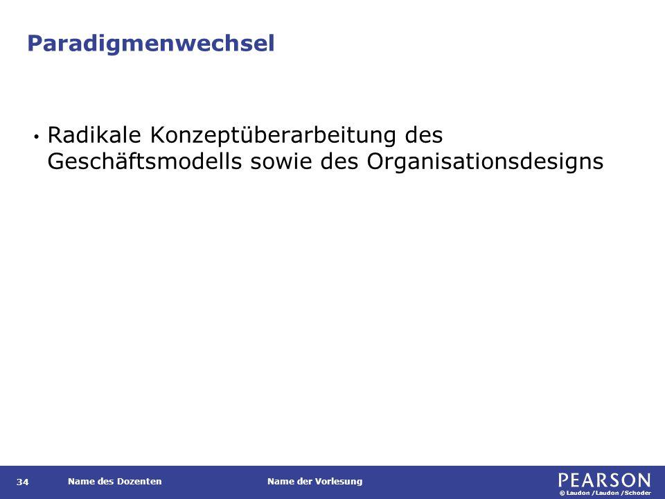 © Laudon /Laudon /Schoder Name des DozentenName der Vorlesung Paradigmenwechsel 34 Radikale Konzeptüberarbeitung des Geschäftsmodells sowie des Organisationsdesigns