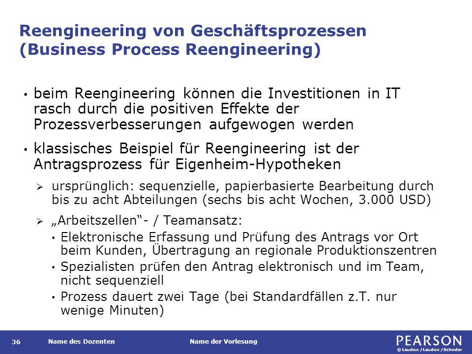© Laudon /Laudon /Schoder Name des DozentenName der Vorlesung Reengineering von Geschäftsprozessen (Business Process Reengineering) 36 beim Reengineer