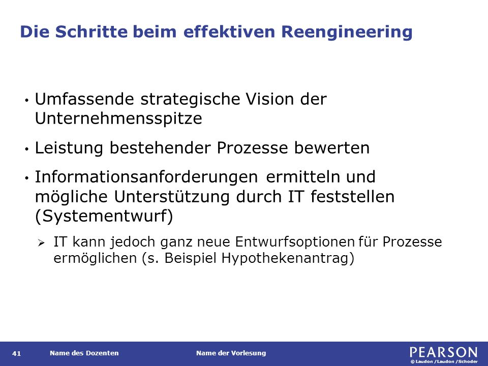 © Laudon /Laudon /Schoder Name des DozentenName der Vorlesung Die Schritte beim effektiven Reengineering 41 Umfassende strategische Vision der Unterne