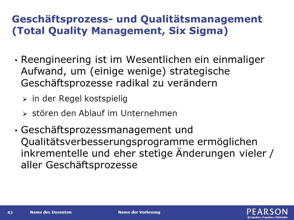 © Laudon /Laudon /Schoder Name des DozentenName der Vorlesung Geschäftsprozess- und Qualitätsmanagement (Total Quality Management, Six Sigma) 43 Reeng