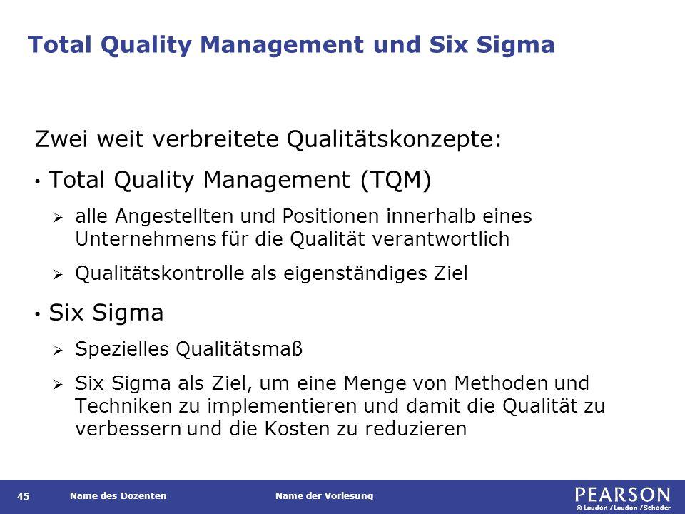 © Laudon /Laudon /Schoder Name des DozentenName der Vorlesung Total Quality Management und Six Sigma 45 Zwei weit verbreitete Qualitätskonzepte: Total