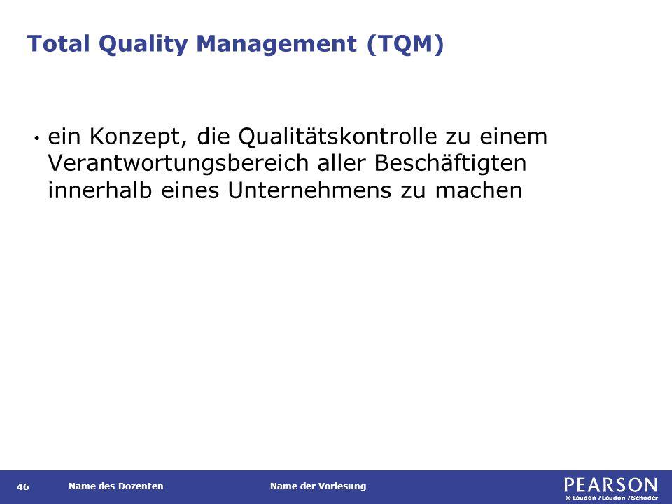 © Laudon /Laudon /Schoder Name des DozentenName der Vorlesung Total Quality Management (TQM) 46 ein Konzept, die Qualitätskontrolle zu einem Verantwortungsbereich aller Beschäftigten innerhalb eines Unternehmens zu machen