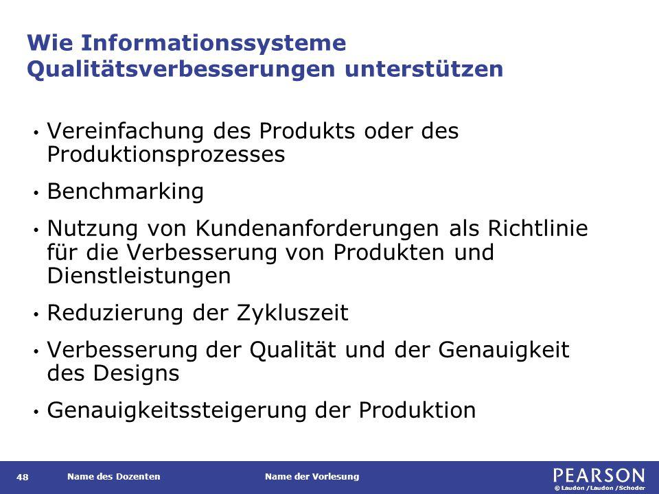 © Laudon /Laudon /Schoder Name des DozentenName der Vorlesung Wie Informationssysteme Qualitätsverbesserungen unterstützen 48 Vereinfachung des Produk