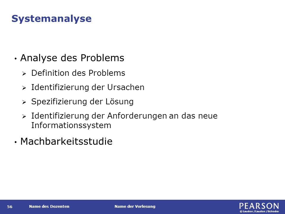 © Laudon /Laudon /Schoder Name des DozentenName der Vorlesung Systemanalyse 56 Analyse des Problems  Definition des Problems  Identifizierung der Ur