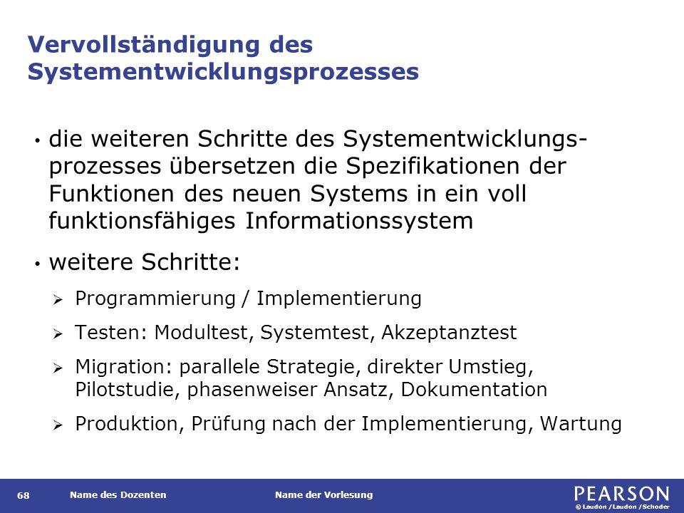 © Laudon /Laudon /Schoder Name des DozentenName der Vorlesung Vervollständigung des Systementwicklungsprozesses 68 die weiteren Schritte des Systement