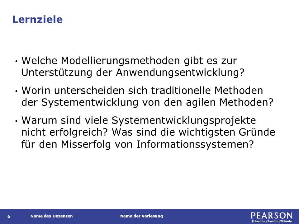 © Laudon /Laudon /Schoder Name des DozentenName der Vorlesung Abschnitte des Informationssystemplans 17