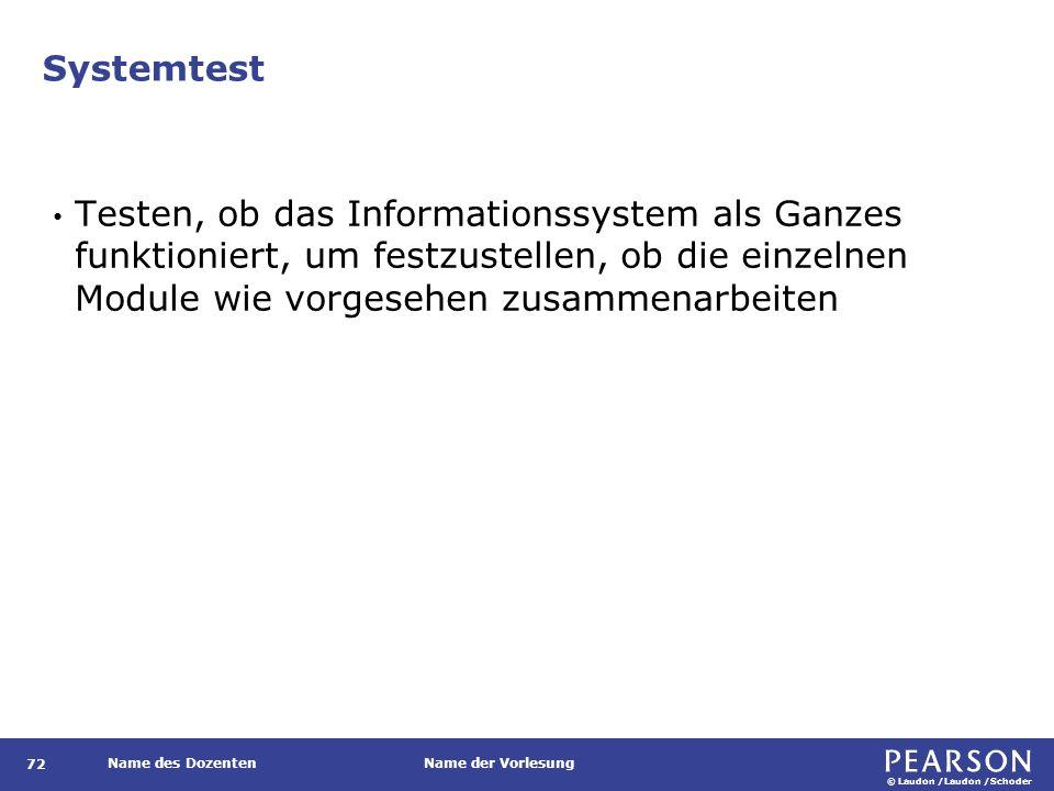 © Laudon /Laudon /Schoder Name des DozentenName der Vorlesung Systemtest 72 Testen, ob das Informationssystem als Ganzes funktioniert, um festzustelle