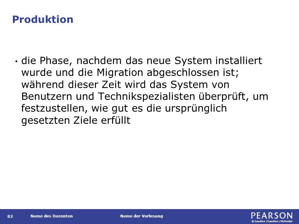 © Laudon /Laudon /Schoder Name des DozentenName der Vorlesung Produktion 82 die Phase, nachdem das neue System installiert wurde und die Migration abg