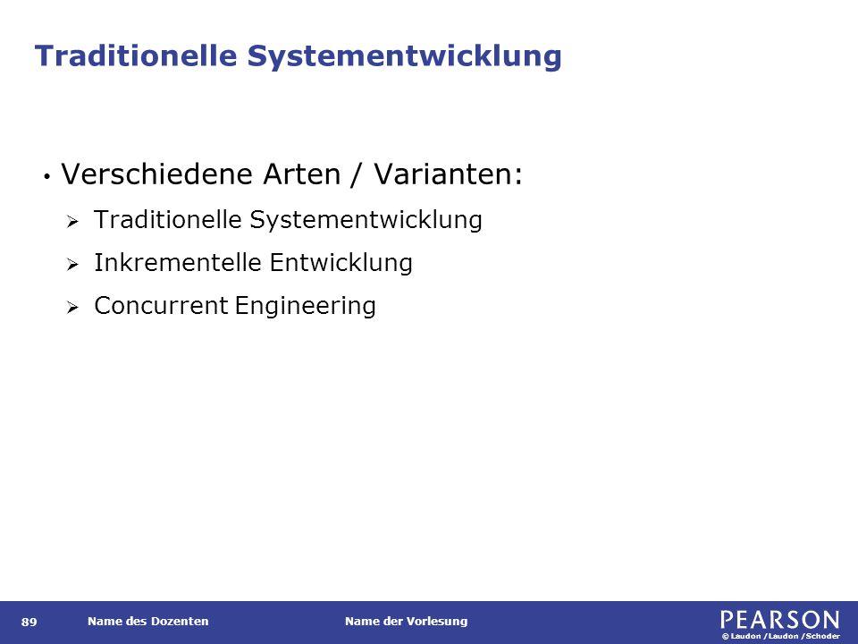 © Laudon /Laudon /Schoder Name des DozentenName der Vorlesung Traditionelle Systementwicklung 89 Verschiedene Arten / Varianten:  Traditionelle Systementwicklung  Inkrementelle Entwicklung  Concurrent Engineering