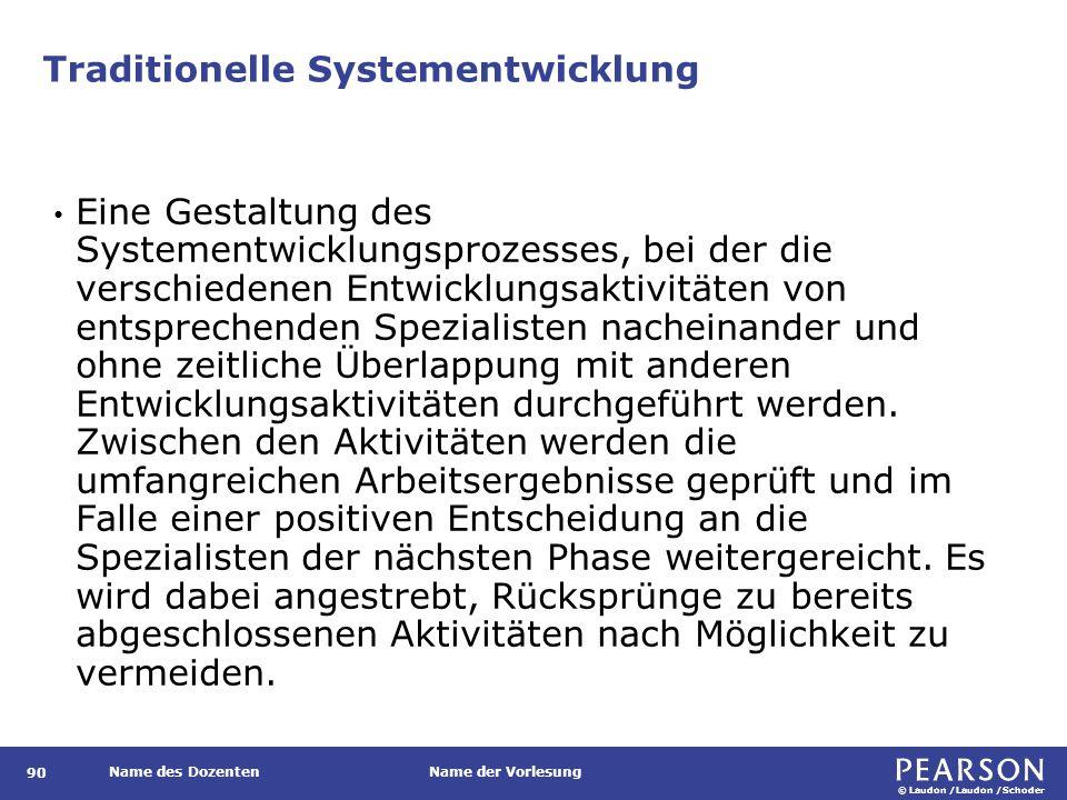 © Laudon /Laudon /Schoder Name des DozentenName der Vorlesung Traditionelle Systementwicklung 90 Eine Gestaltung des Systementwicklungsprozesses, bei