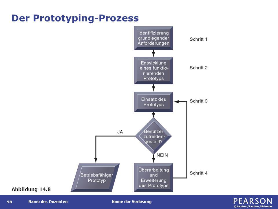 © Laudon /Laudon /Schoder Name des DozentenName der Vorlesung Der Prototyping-Prozess 98 Abbildung 14.8
