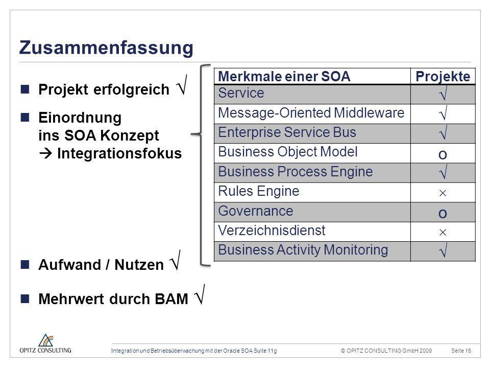 © OPITZ CONSULTING GmbH 2009Seite 16Integration und Betriebsüberwachung mit der Oracle SOA Suite 11g Konstruktionsraster 20mm 4mm OPITZ CONSULTING Vorlage Powerpoint 2009; Version 1.1; 01.10.2009; TGA, MVI, JWI Titel und Inhalt: Dies ist das Haupttemplate für Inhaltsseiten.