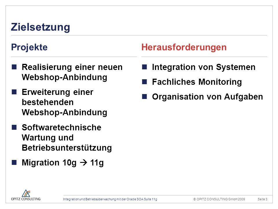 © OPITZ CONSULTING GmbH 2009Seite 14Integration und Betriebsüberwachung mit der Oracle SOA Suite 11g Konstruktionsraster 20mm 4mm OPITZ CONSULTING Vorlage Powerpoint 2009; Version 1.1; 01.10.2009; TGA, MVI, JWI Titel und Inhalt: Dies ist das Haupttemplate für Inhaltsseiten.