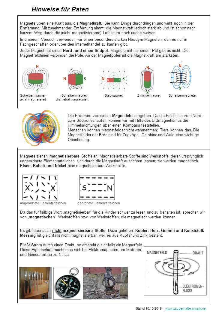 Hinweise für Paten Magnete üben eine Kraft aus, die Magnetkraft. Sie kann Dinge durchdringen und wirkt noch in der Entfernung. Mit zunehmender Entfern