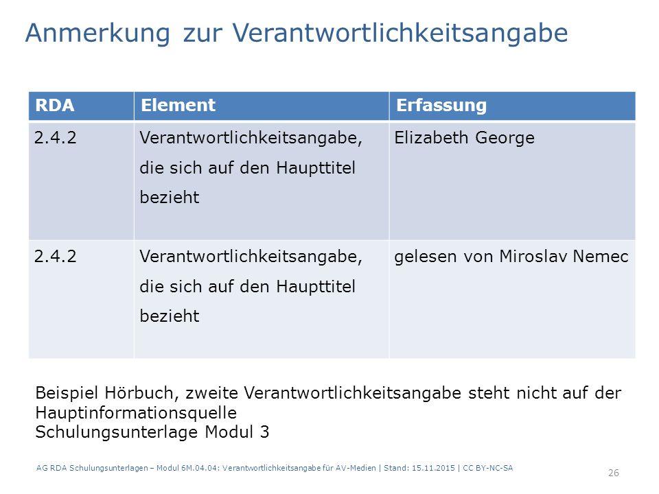 RDAElementErfassung 2.4.2 Verantwortlichkeitsangabe, die sich auf den Haupttitel bezieht Elizabeth George 2.4.2Verantwortlichkeitsangabe, die sich auf