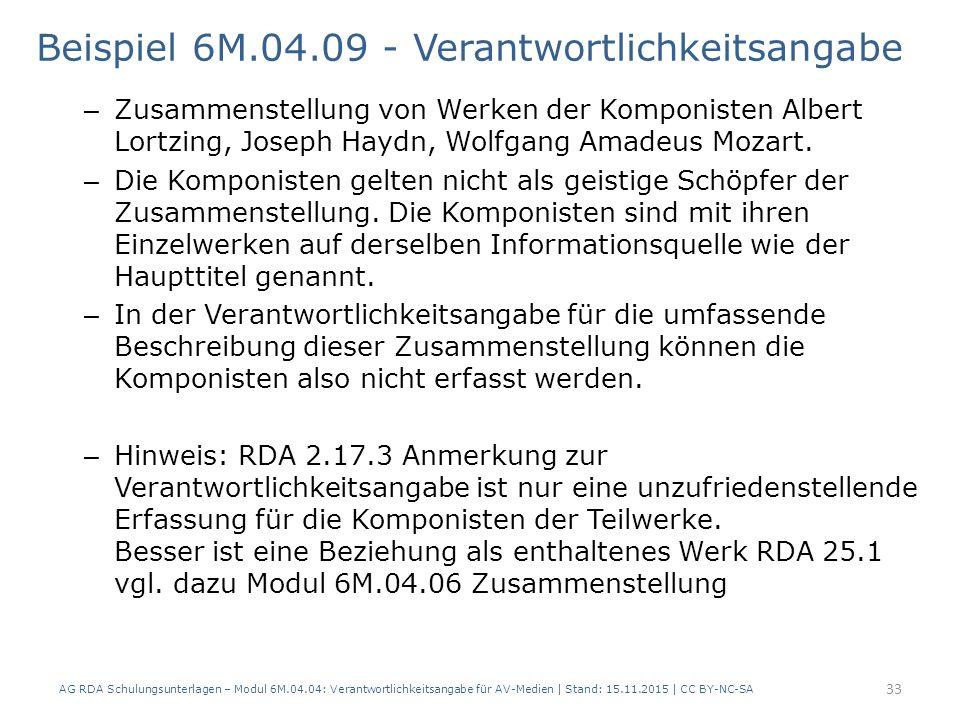 Beispiel 6M.04.09 - Verantwortlichkeitsangabe – Zusammenstellung von Werken der Komponisten Albert Lortzing, Joseph Haydn, Wolfgang Amadeus Mozart. –