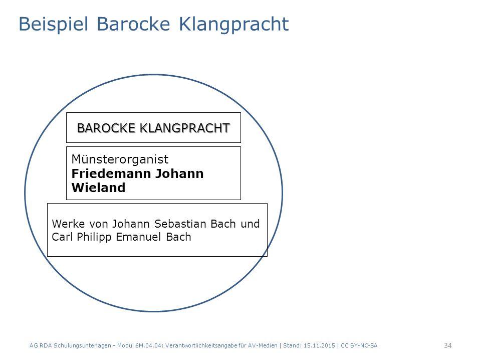 AG RDA Schulungsunterlagen – Modul 6M.04.04: Verantwortlichkeitsangabe für AV-Medien | Stand: 15.11.2015 | CC BY-NC-SA BAROCKE KLANGPRACHT Beispiel Ba