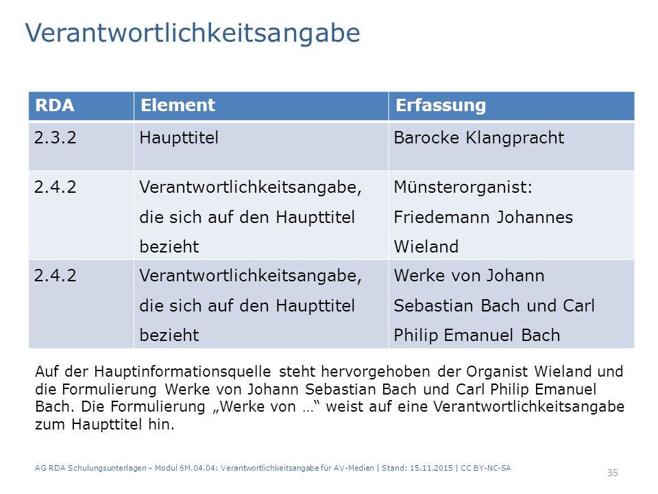 RDAElementErfassung 2.3.2HaupttitelBarocke Klangpracht 2.4.2 Verantwortlichkeitsangabe, die sich auf den Haupttitel bezieht Münsterorganist: Friedeman