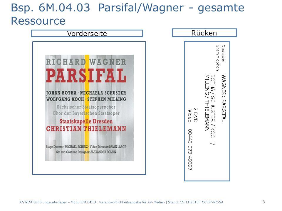 AG RDA Schulungsunterlagen – Modul 6M.04.04: Verantwortlichkeitsangabe für AV-Medien | Stand: 15.11.2015 | CC BY-NC-SA Vorderseite Bsp. 6M.04.03 Parsi