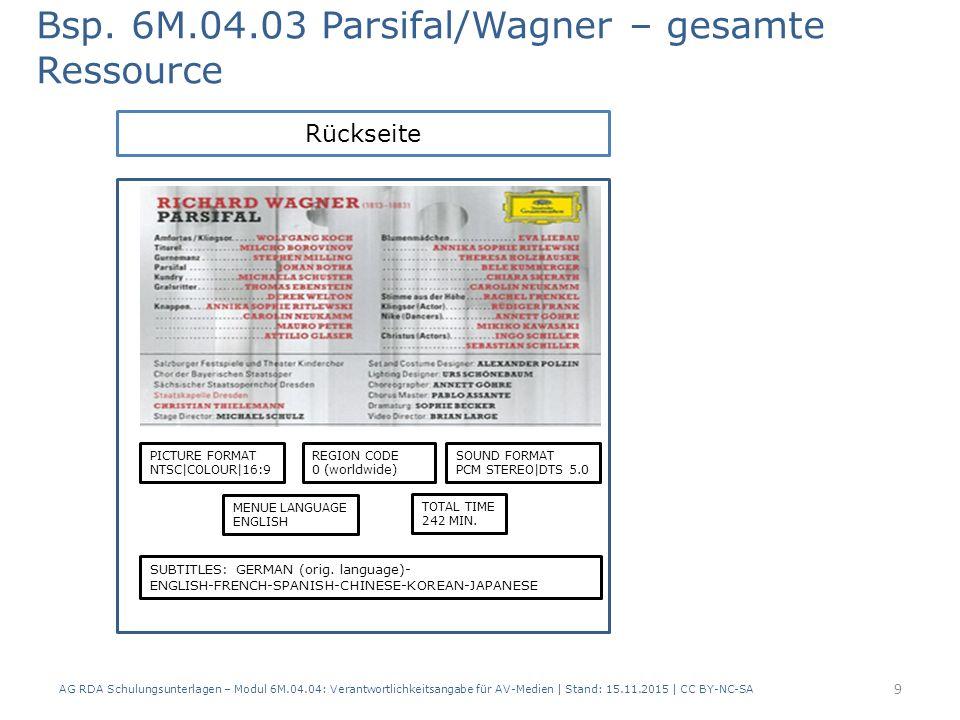 Bsp. 6M.04.03 Parsifal/Wagner – gesamte Ressource AG RDA Schulungsunterlagen – Modul 6M.04.04: Verantwortlichkeitsangabe für AV-Medien | Stand: 15.11.